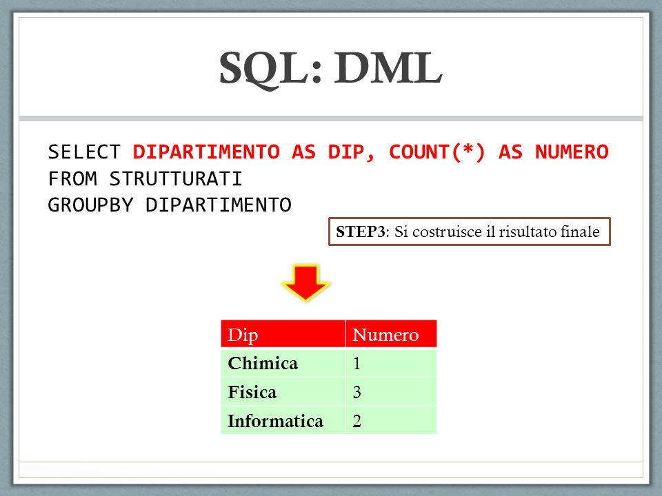 SQL: DML SELECT DIPARTIMENTO AS DIP, COUNT(*) AS NUMERO