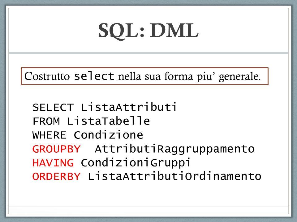 SQL: DML Costrutto select nella sua forma piu' generale.