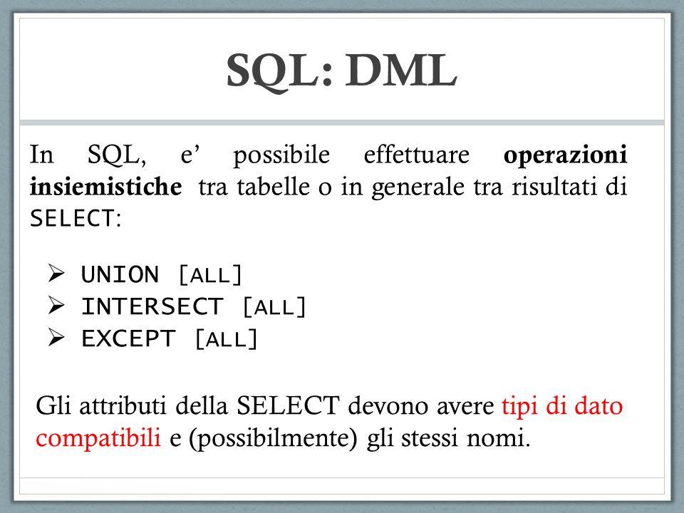 SQL: DML In SQL, e' possibile effettuare operazioni insiemistiche tra tabelle o in generale tra risultati di SELECT: