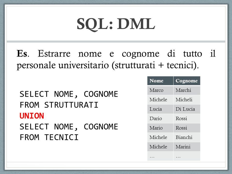 SQL: DML Es. Estrarre nome e cognome di tutto il personale universitario (strutturati + tecnici). Nome.