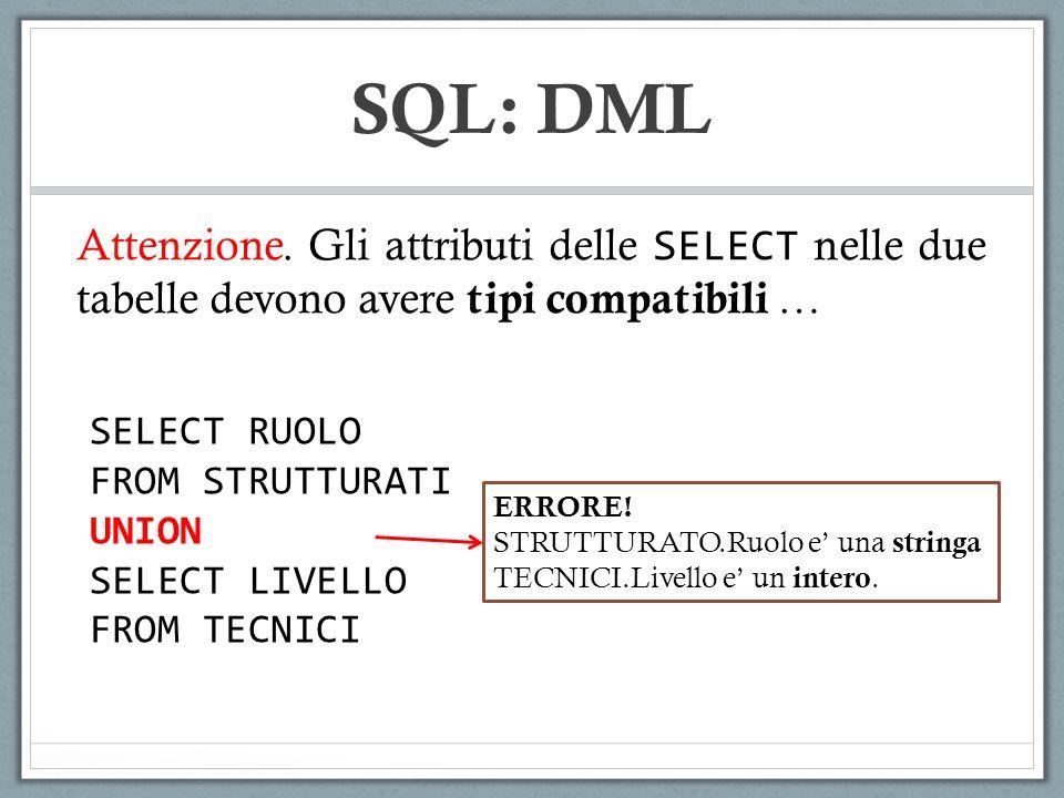 SQL: DML Attenzione. Gli attributi delle SELECT nelle due tabelle devono avere tipi compatibili … SELECT RUOLO.
