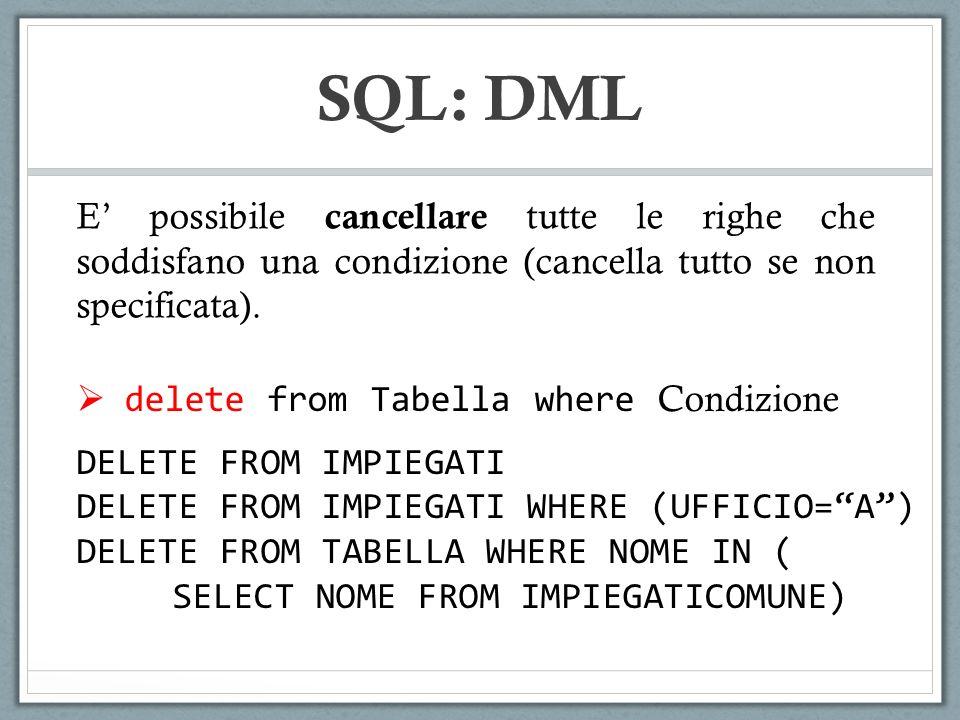 SQL: DML E' possibile cancellare tutte le righe che soddisfano una condizione (cancella tutto se non specificata).