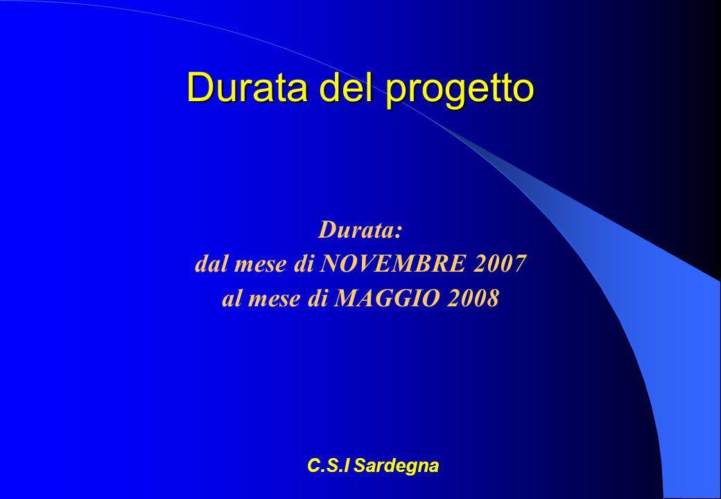 Durata del progetto Durata: dal mese di NOVEMBRE 2007