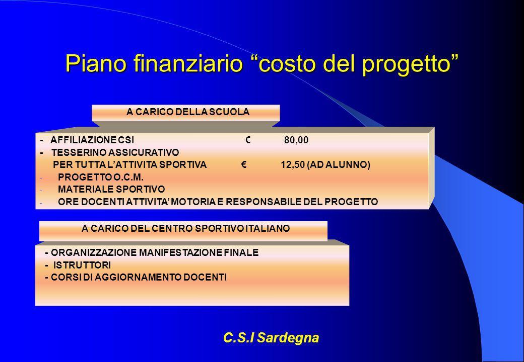 Piano finanziario costo del progetto