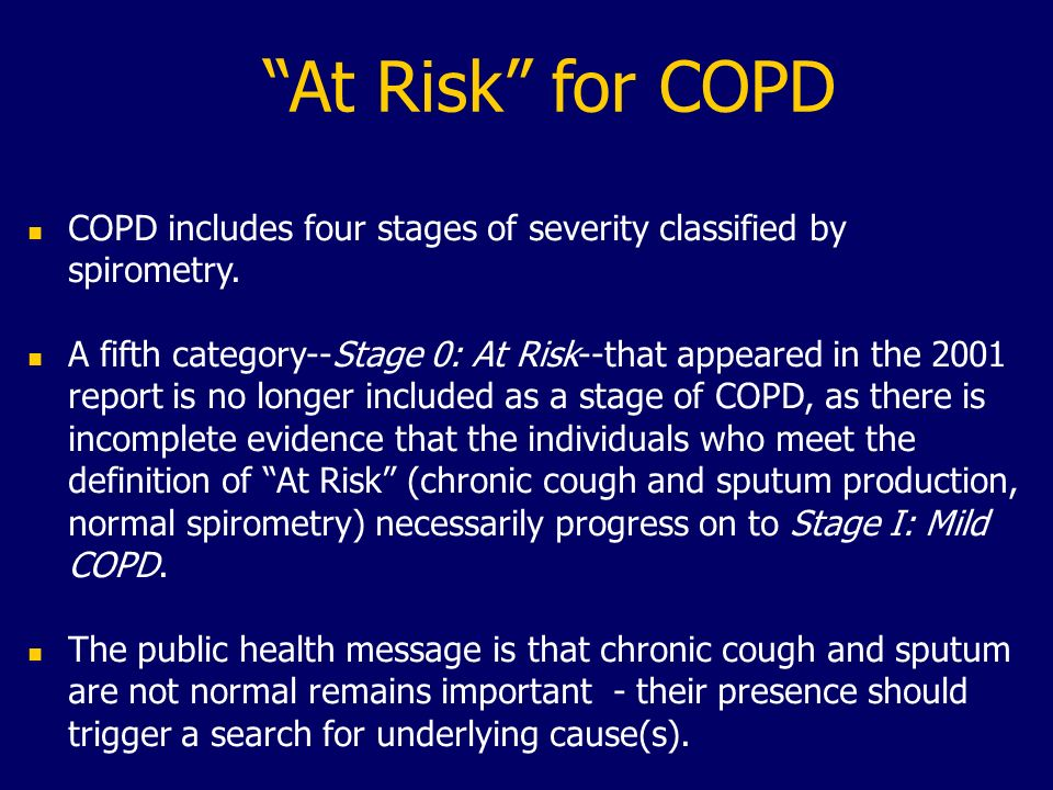 At Risk for COPDCOPD includes four stages of severity classified by spirometry.