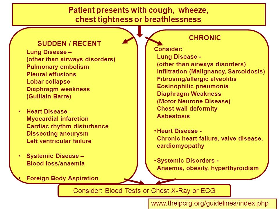 Patient presents with cough, wheeze, chest tightness or breathlessness