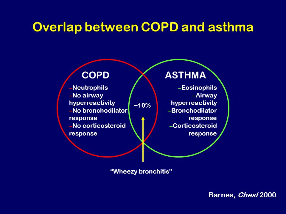 Overlap between COPD and asthma