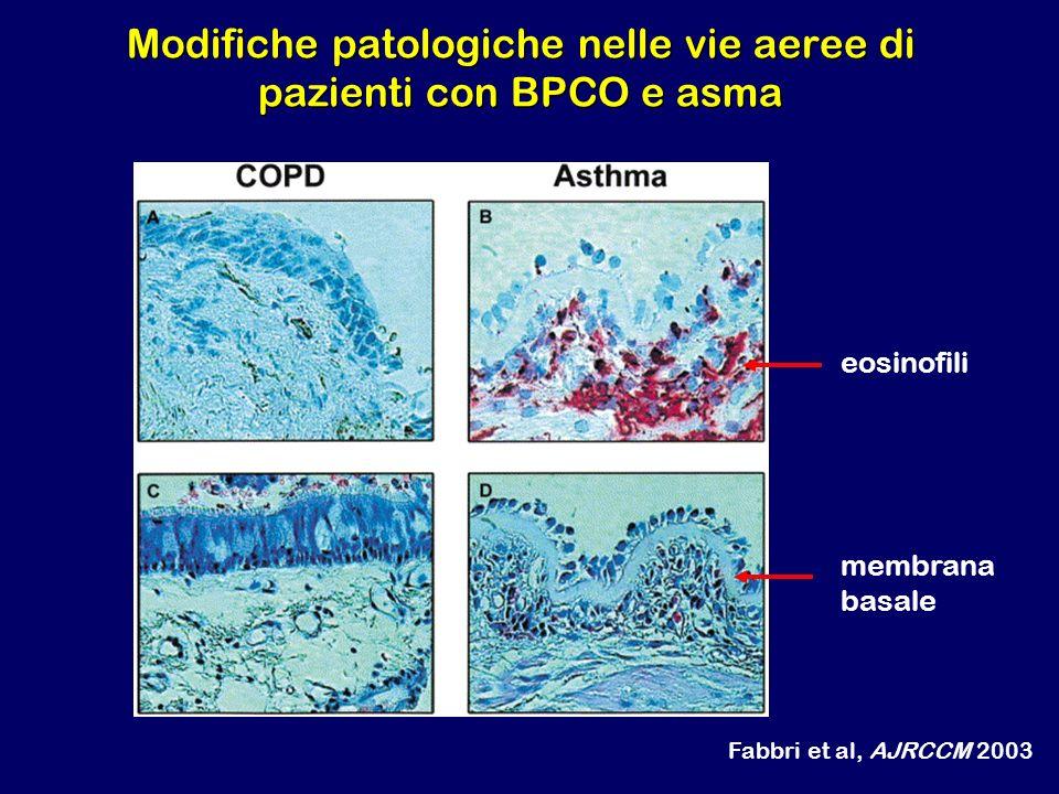 Modifiche patologiche nelle vie aeree di pazienti con BPCO e asma