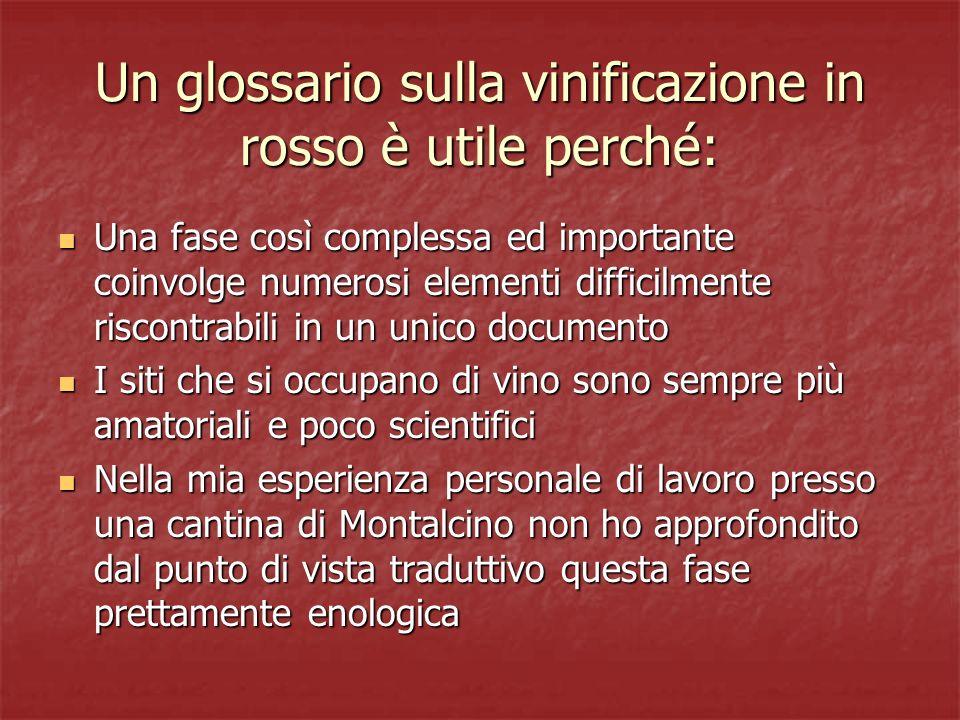 Un glossario sulla vinificazione in rosso è utile perché: