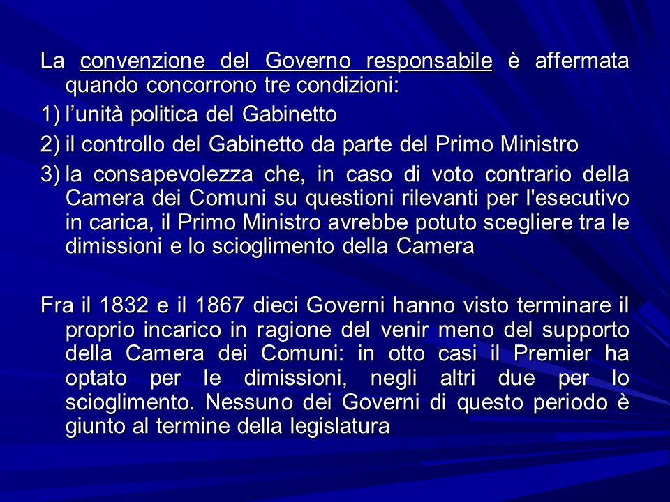 La convenzione del Governo responsabile è affermata quando concorrono tre condizioni: