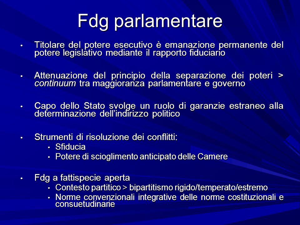Fdg parlamentare Titolare del potere esecutivo è emanazione permanente del potere legislativo mediante il rapporto fiduciario.