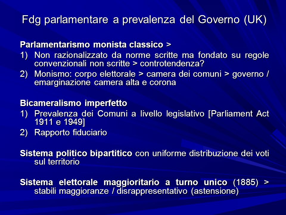 Fdg parlamentare a prevalenza del Governo (UK)