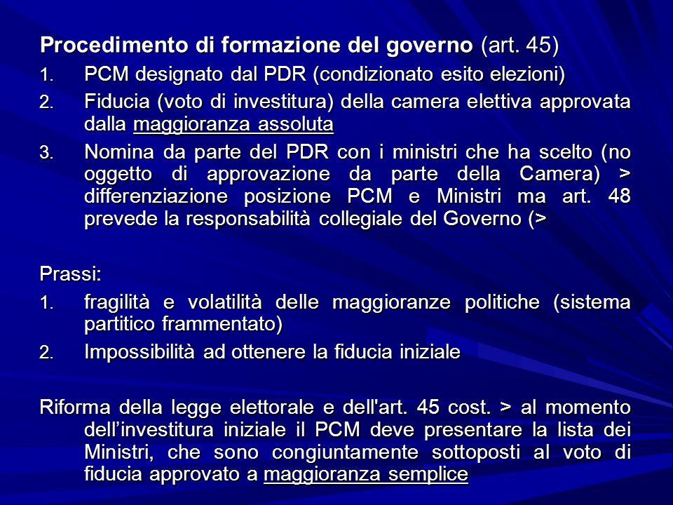 Procedimento di formazione del governo (art. 45)