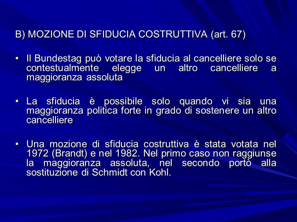 B) MOZIONE DI SFIDUCIA COSTRUTTIVA (art. 67)