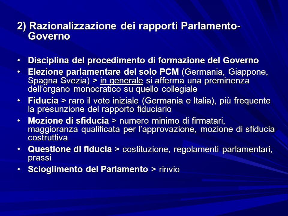 2) Razionalizzazione dei rapporti Parlamento- Governo