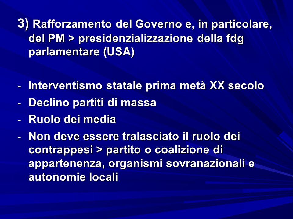 3) Rafforzamento del Governo e, in particolare, del PM > presidenzializzazione della fdg parlamentare (USA)