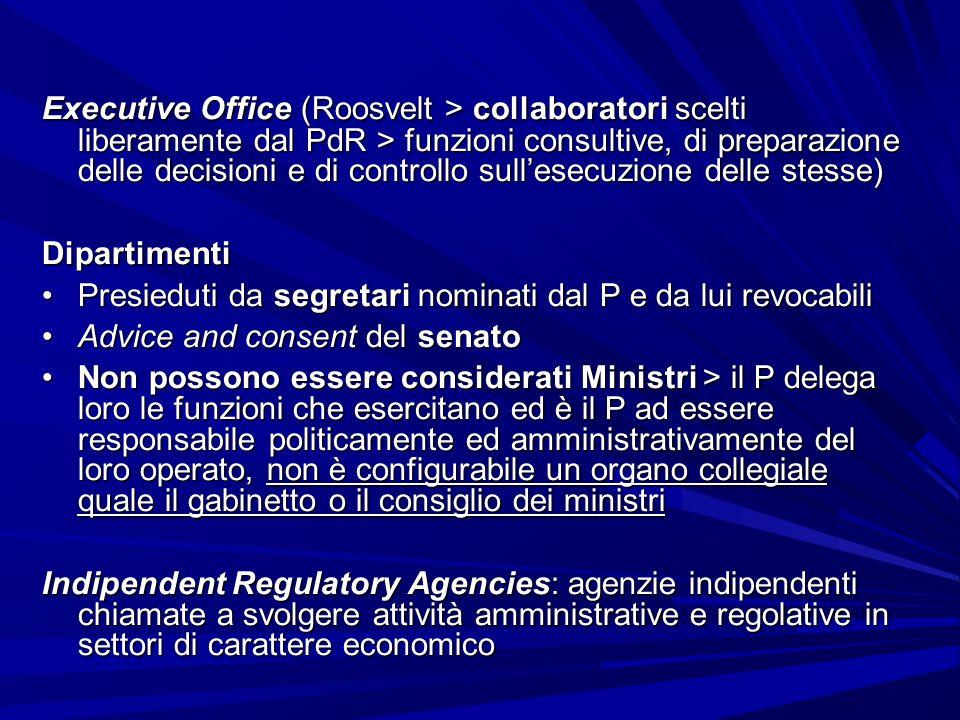 Executive Office (Roosvelt > collaboratori scelti liberamente dal PdR > funzioni consultive, di preparazione delle decisioni e di controllo sull'esecuzione delle stesse)