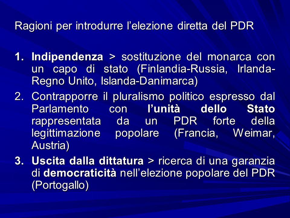 Ragioni per introdurre l'elezione diretta del PDR