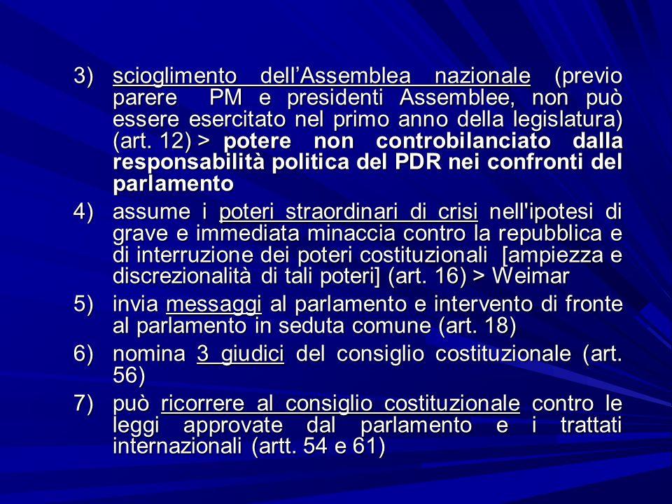 scioglimento dell'Assemblea nazionale (previo parere PM e presidenti Assemblee, non può essere esercitato nel primo anno della legislatura) (art. 12) > potere non controbilanciato dalla responsabilità politica del PDR nei confronti del parlamento