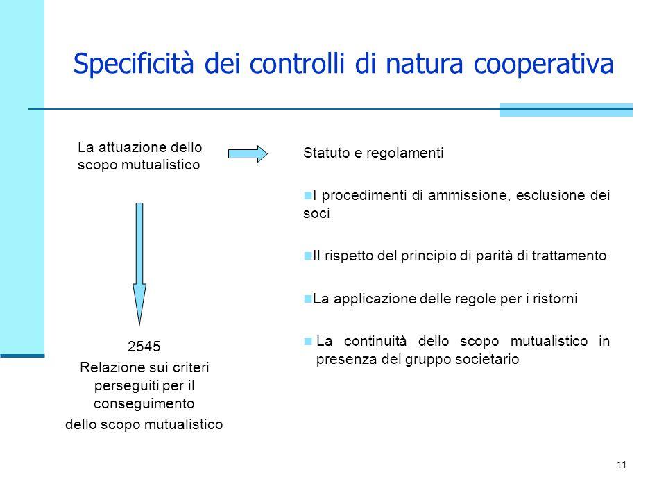 Specificità dei controlli di natura cooperativa