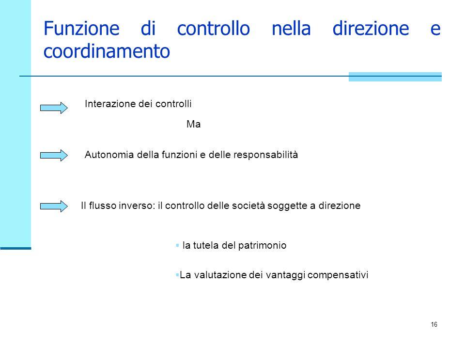 Funzione di controllo nella direzione e coordinamento