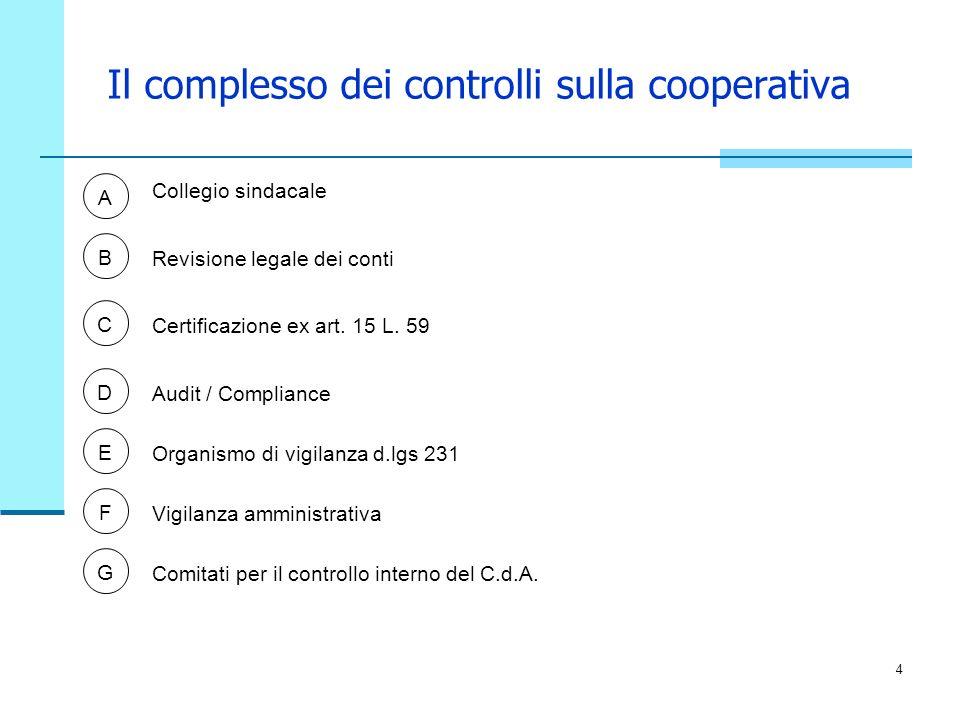Il complesso dei controlli sulla cooperativa