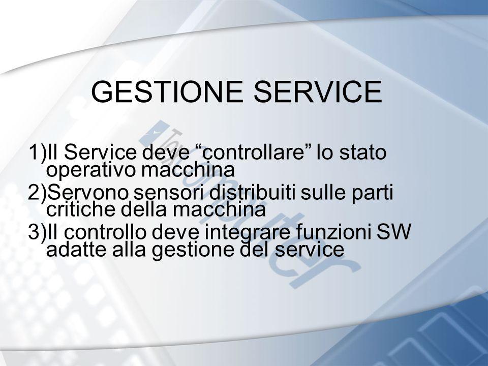 GESTIONE SERVICE 1)Il Service deve controllare lo stato operativo macchina. 2)Servono sensori distribuiti sulle parti critiche della macchina.