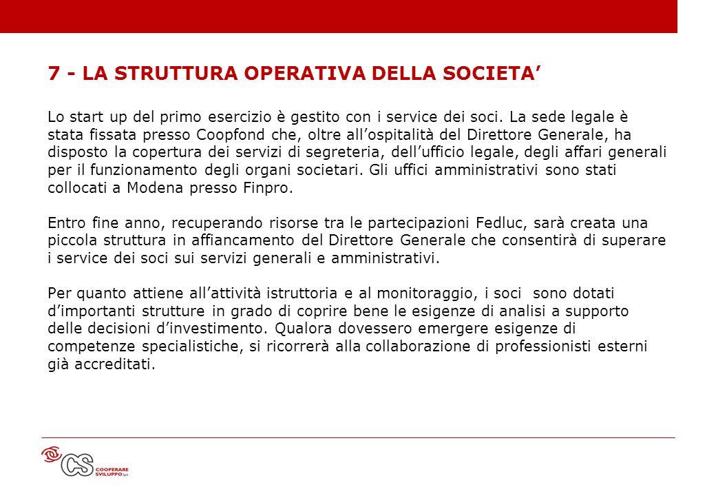 7 - LA STRUTTURA OPERATIVA DELLA SOCIETA'