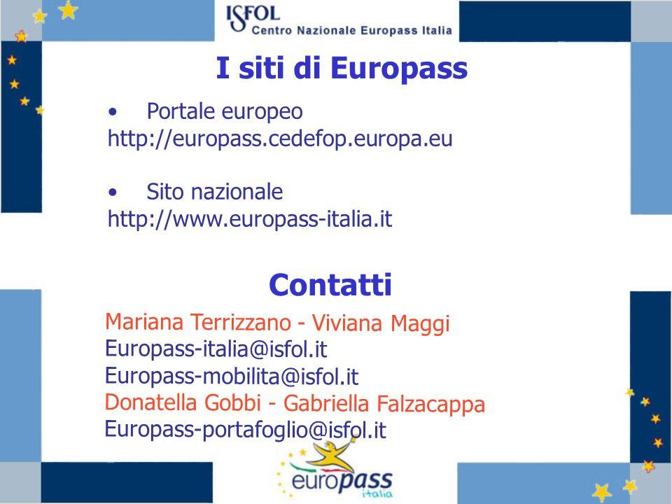 I siti di Europass Contatti Portale europeo