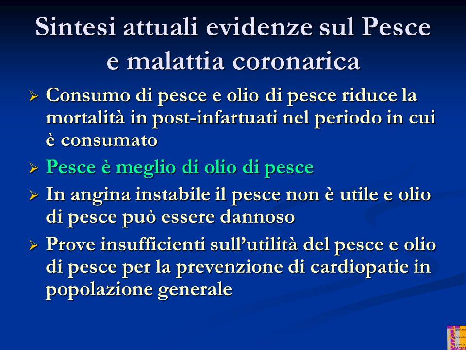 Sintesi attuali evidenze sul Pesce e malattia coronarica
