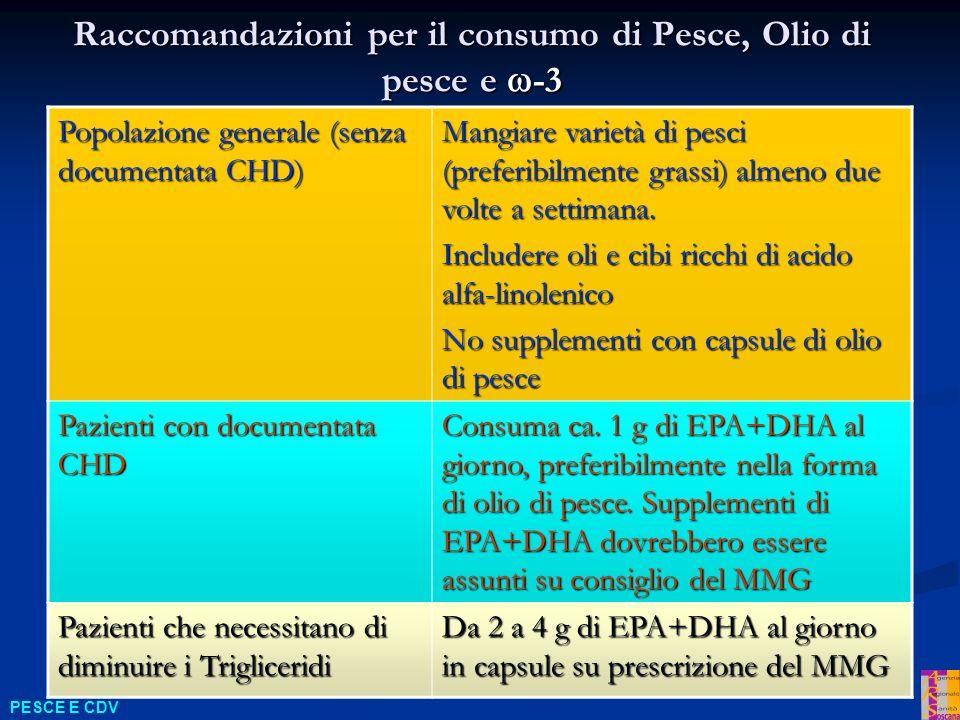 Raccomandazioni per il consumo di Pesce, Olio di pesce e -3