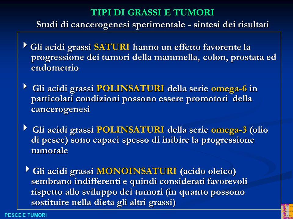 TIPI DI GRASSI E TUMORI Studi di cancerogenesi sperimentale - sintesi dei risultati