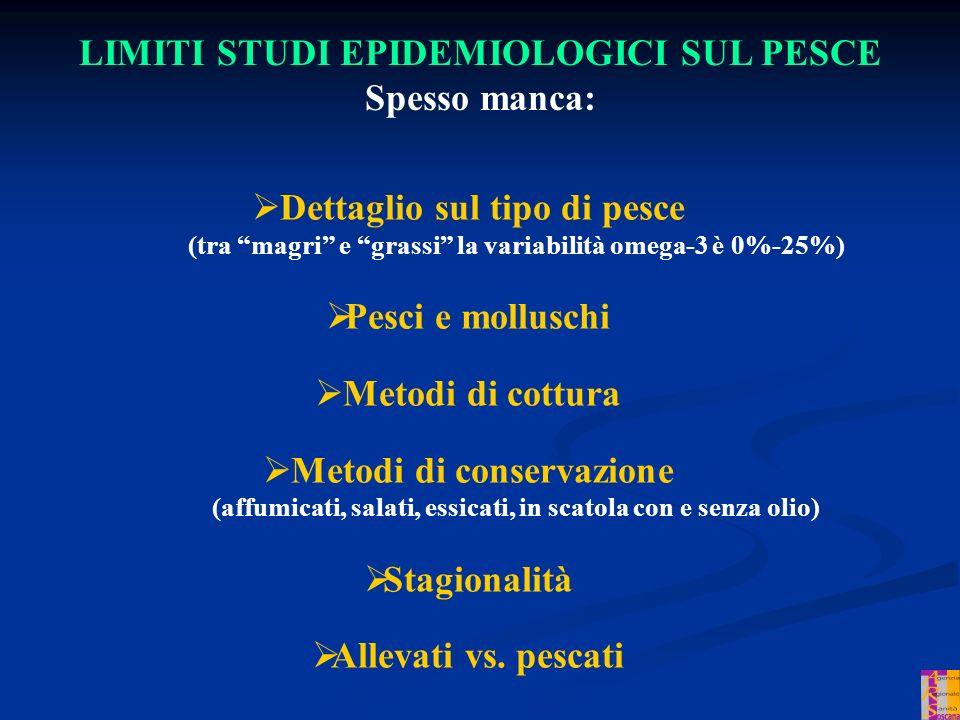 LIMITI STUDI EPIDEMIOLOGICI SUL PESCE Spesso manca: