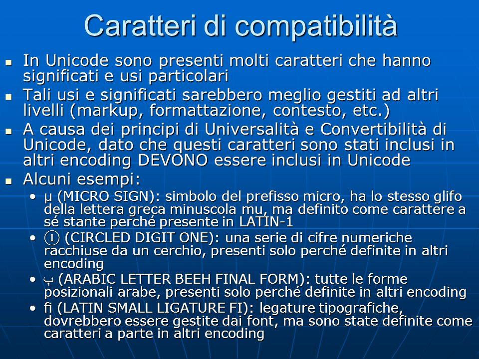 Caratteri di compatibilità