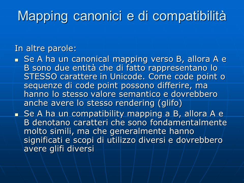 Mapping canonici e di compatibilità