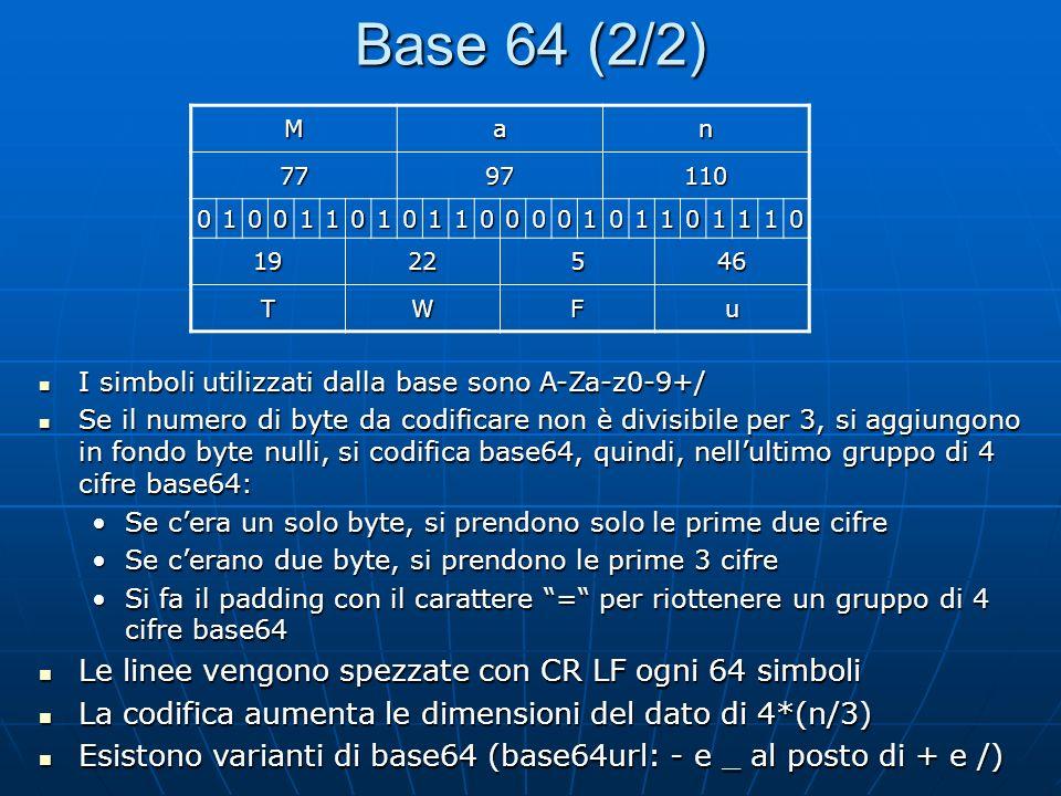 Base 64 (2/2) Le linee vengono spezzate con CR LF ogni 64 simboli
