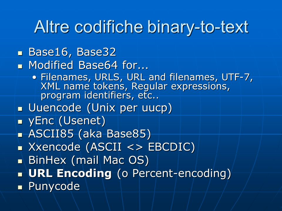 Altre codifiche binary-to-text