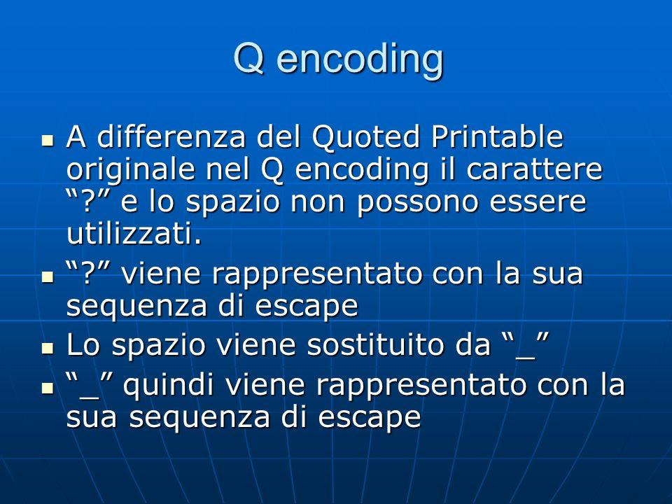 Q encoding A differenza del Quoted Printable originale nel Q encoding il carattere e lo spazio non possono essere utilizzati.