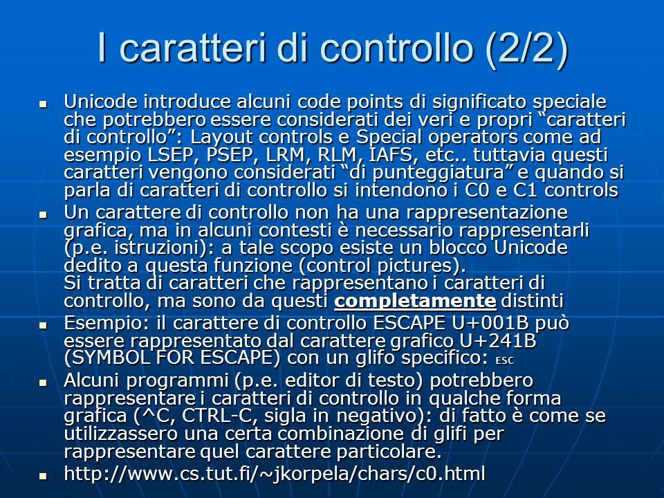 I caratteri di controllo (2/2)