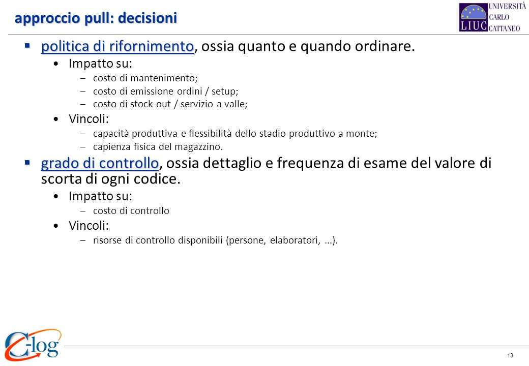 approccio pull: decisioni