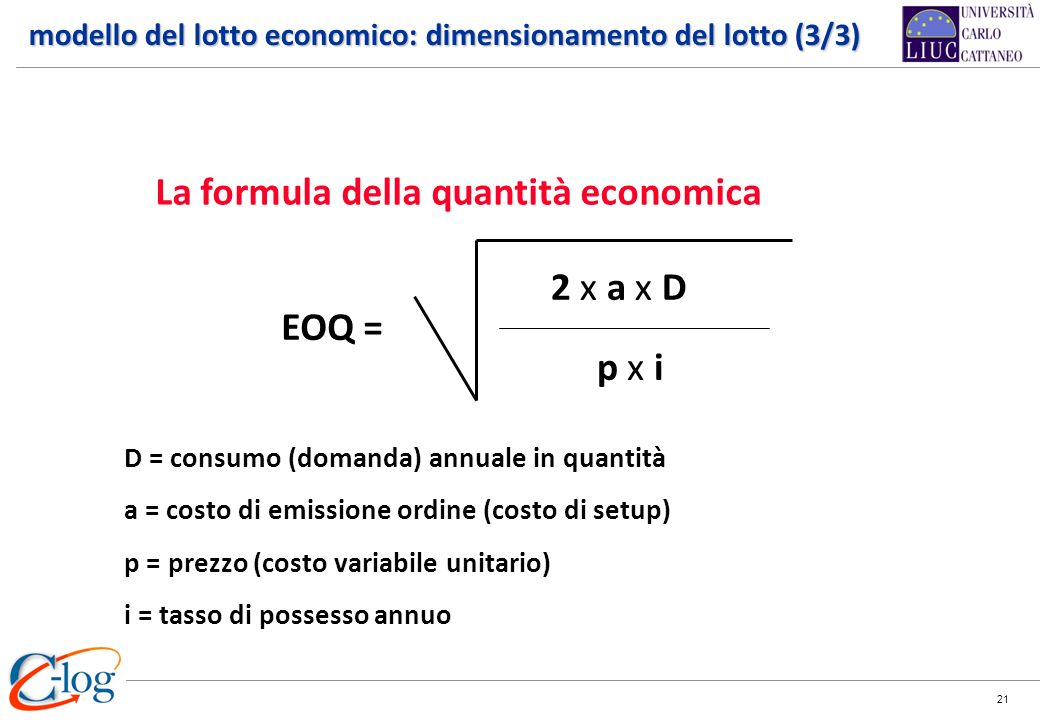 La formula della quantità economica