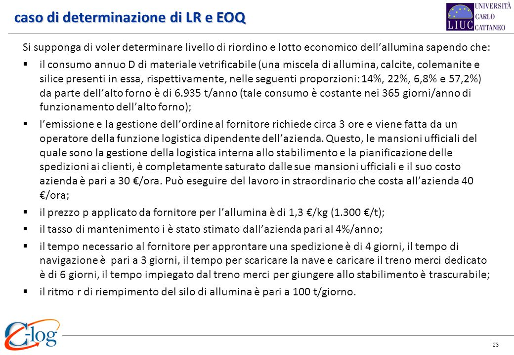 caso di determinazione di LR e EOQ
