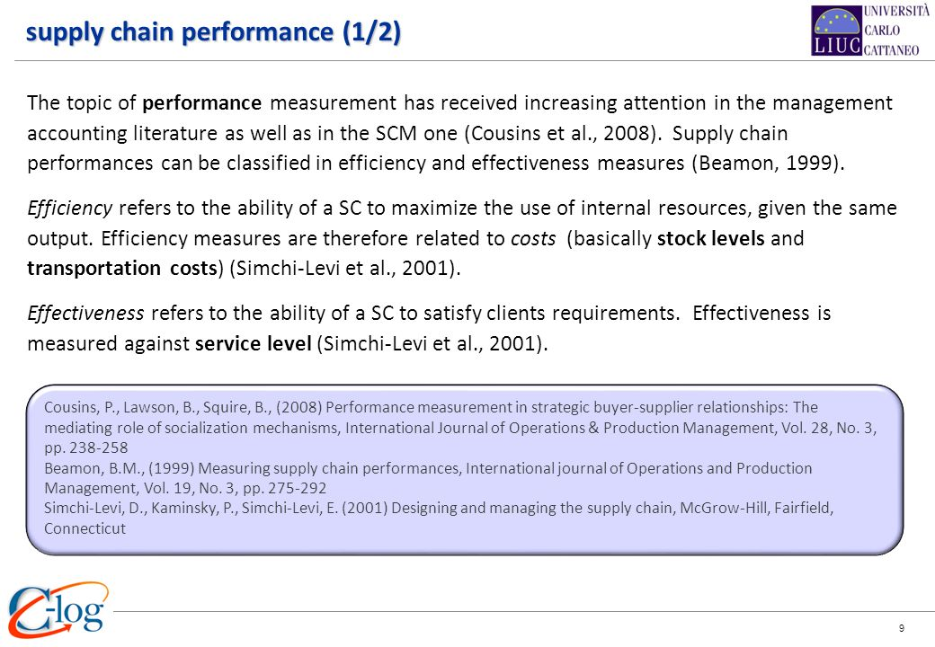 supply chain performance (1/2)