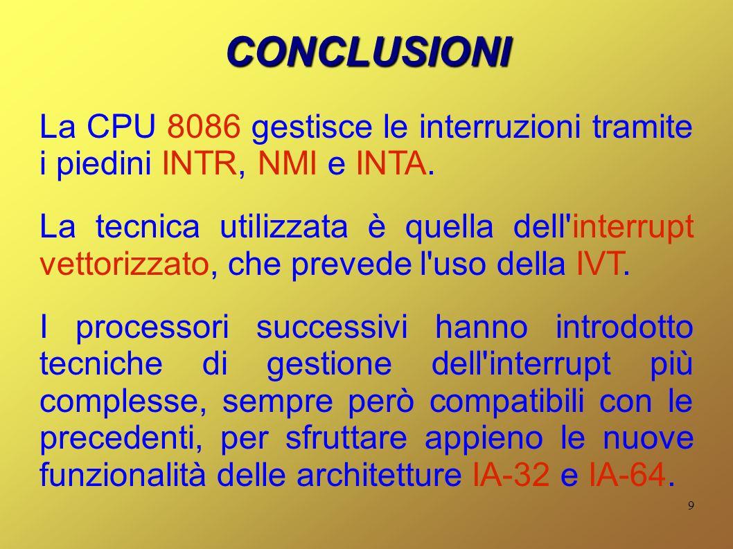 CONCLUSIONI La CPU 8086 gestisce le interruzioni tramite i piedini INTR, NMI e INTA.
