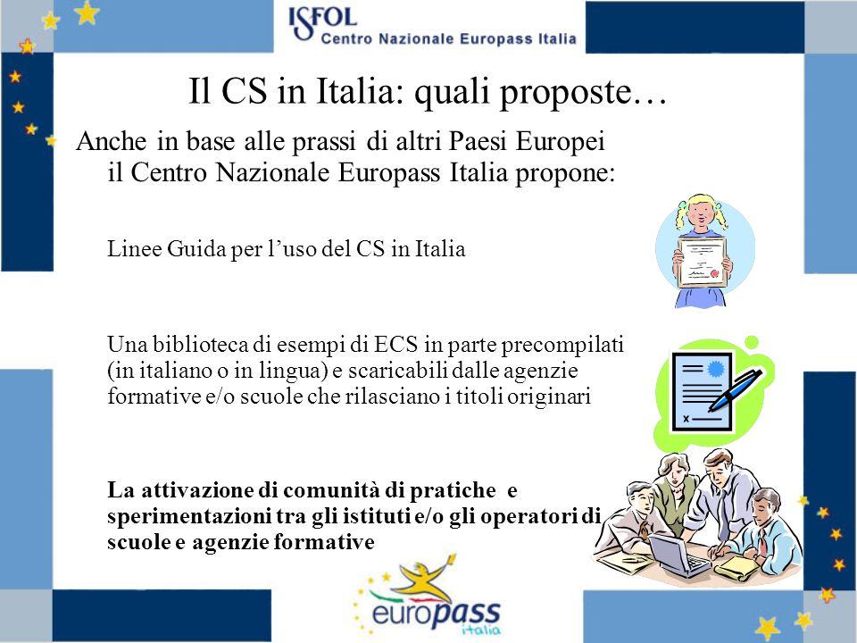 Il CS in Italia: quali proposte…