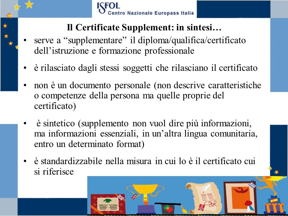 Il Certificate Supplement: in sintesi…
