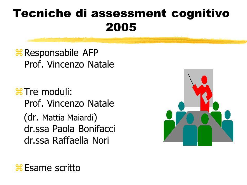 Tecniche di assessment cognitivo 2005