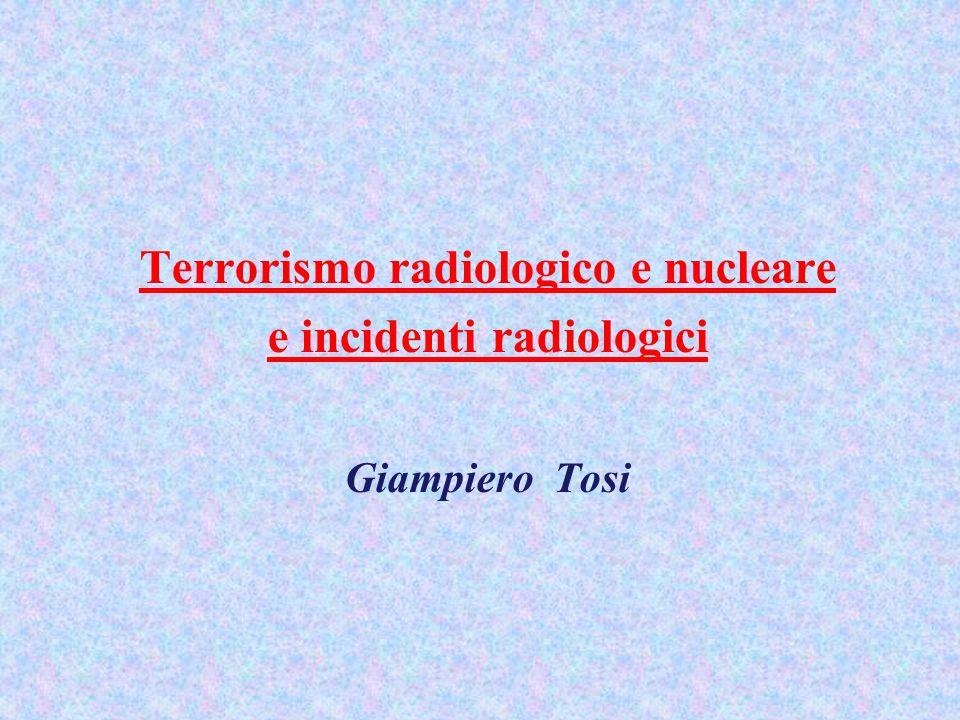 Terrorismo radiologico e nucleare e incidenti radiologici