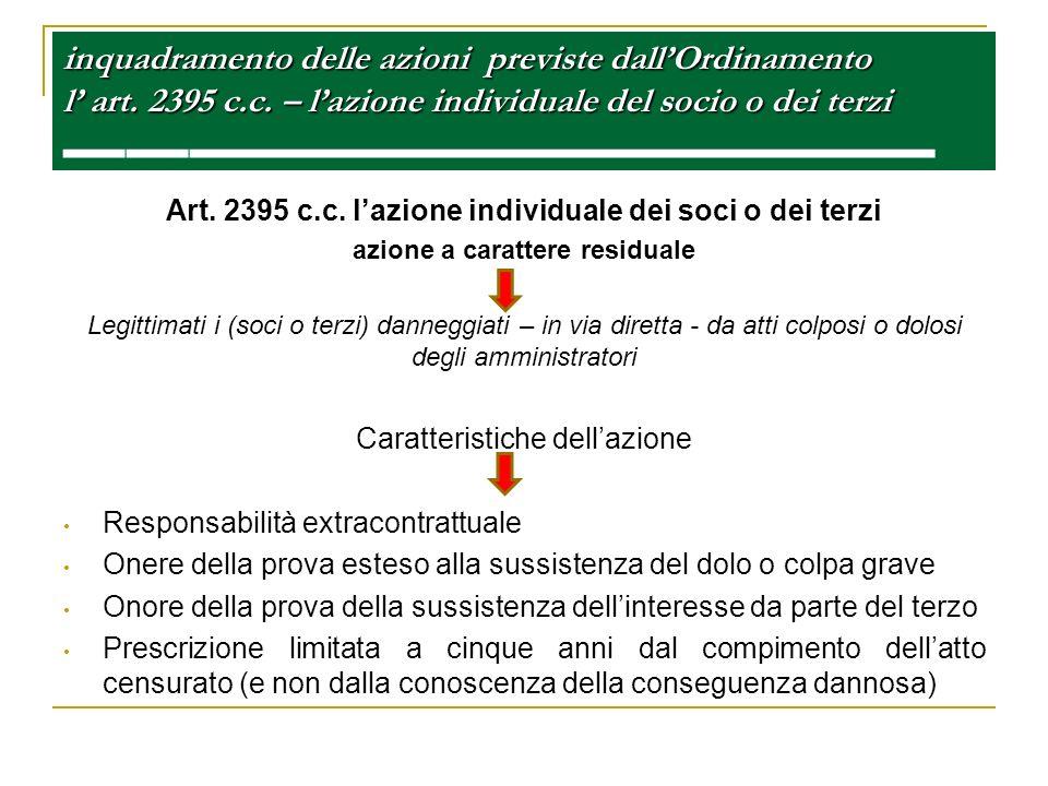inquadramento delle azioni previste dall'Ordinamento l' art. 2395 c. c