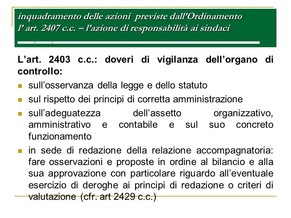 inquadramento delle azioni previste dall'Ordinamento l' art. 2407 c. c
